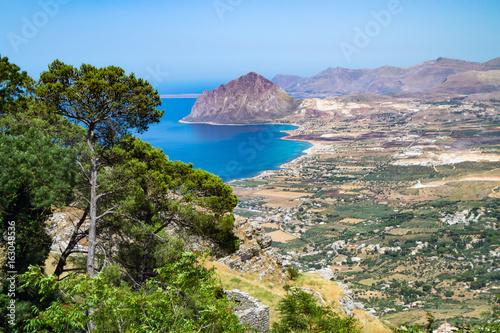 Fotografie, Obraz  view of Cofano mount and the Tyrrhenian coastline from Erice, Sicily