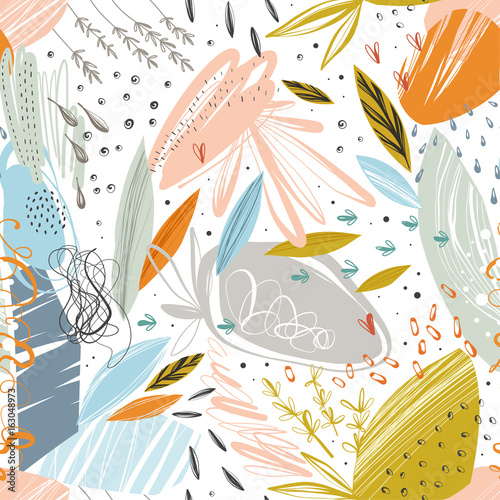 Poster Kunstmatig Vector abstract seamless pattern with scribble textures and doodle floral elements.
