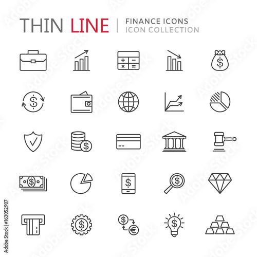 Fototapeta Collection of finance thin line icons obraz