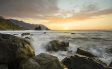 Sunset Over Oceanic, Rocky Shore