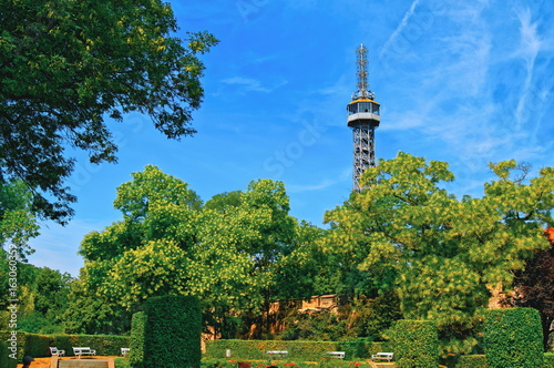 Petrin Observation Tower and gardens on Petrin hill Canvas Print