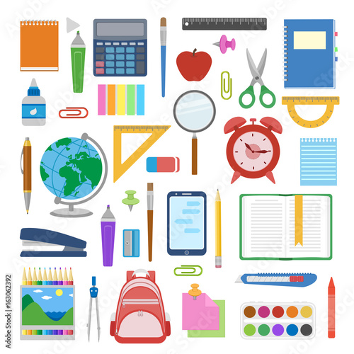 Cuadros en Lienzo  School supplies and items set isolated on white background