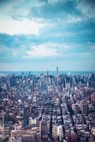 New York City aerial view across Manhattan.