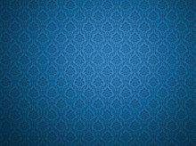 Blue Damask Pattern Background