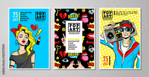 Photo  Vector cards and banners in 80s-90s comic style.
