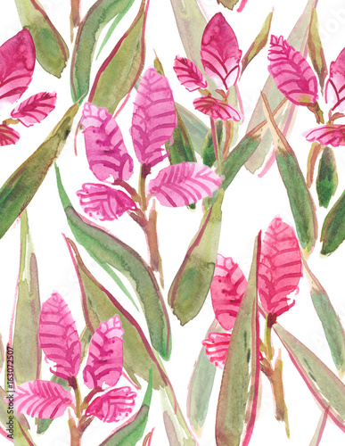 Seamless pattern with bright pink exotic flowers and pink leaves seamless pattern with bright pink exotic flowers and pink leaves painted in watercolor on white isolated mightylinksfo