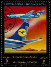 Passenger Airliner Boeing 707 On Postage Stamp