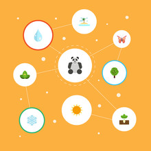 Flat Icons Beauty Insect, Bear, Winter Snow And Other Vector Elements. Set Of Eco Flat Icons Symbols Also Includes Tree, Panda, Snow Objects.