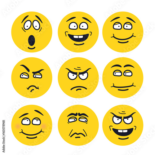 Fotografie, Obraz  cartoon faces with expressions
