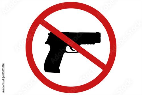 Fotografía  Prohibiting sign for gun. No gun sign. 3d illustration