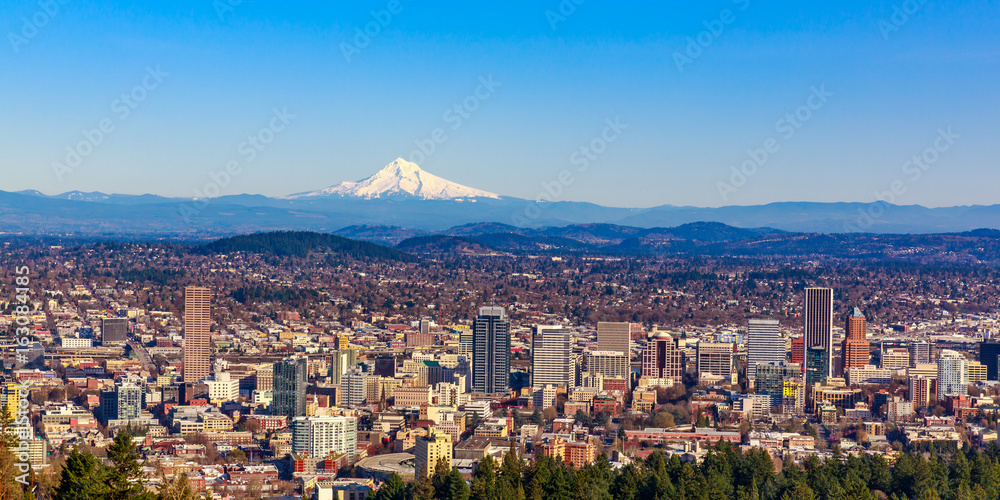 Fototapety, obrazy: Portland Downtown Cityscape with Mt Hood