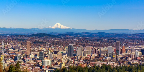 Fotografiet  Portland Downtown Cityscape with Mt Hood