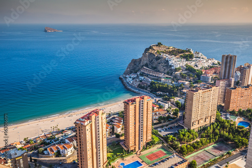 Photo  Benidorm levante beach aerial view in alicante Spain