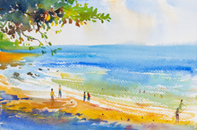 Painting Colorful Of Beach And  Sand In Emotion Clound Background