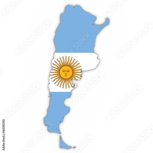 Argentina Map Outline with Argentinian Flag on White with Shadows 3D Illustratio Wallpaper Mural