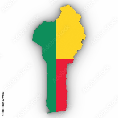 Benin Map Outline with Beninese Flag on White with Shadows 3D Illustration Wallpaper Mural