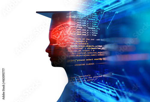 Stampa su Tela 3d rendering of virtual human silhouette on technology background illustration