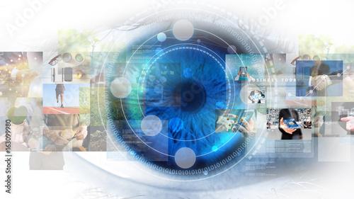 Fotografia, Obraz  Modern technology screen on human eye. Futuristic modern concept
