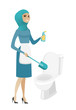 Muslim cleaner in uniform cleaning toilet bowl.