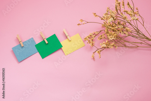 Flower Putting Beside Three Post It Note Or Paper Office Note