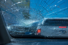 Car Accident. Inside Car Front Glass Car Are Broken. Image For Car,vehicle,transportation,accident Concept