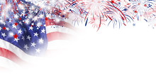 USA Flag With Firework On White Background For 4 July Independence Day