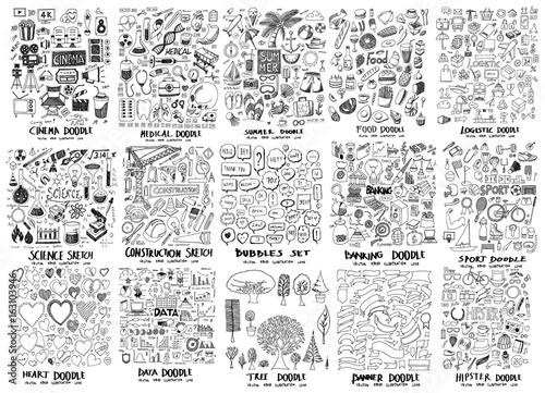 MEGA zestaw ikon gryzmoły filmu, szpital, lato, jedzenie, nauka, budownictwo, bańka, bankowość, serce, dane, drzewo, baner, hipster, sport, logistyczne eps10