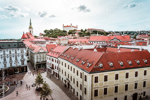 Beautiful panoramic view over historical center of Bratislava in Slovakia Poster