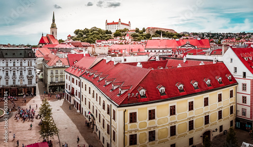 Beautiful panoramic view over historical center of Bratislava in Slovakia Wallpaper Mural