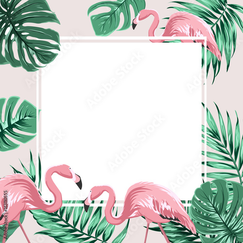 Exotic Tropical Border Frame Template With Bright Green Jungle Palm Tree Monstera Leaves And Pink Flamingo Birds Square Promo Banner Layout