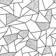 Black And White Doodle Polygon Background. Seamless Geometric Vector Pattern
