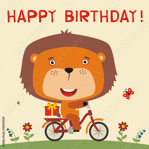 Happy Birthday Cute Lion Rides On Bike With Birthday Gift Card For