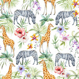 Fototapeta Zwierzęta - Tropical wildlife pattern
