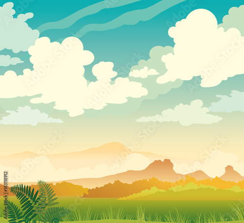 Clouds, mountains, grass, fern, blue sky. Spring landscape.