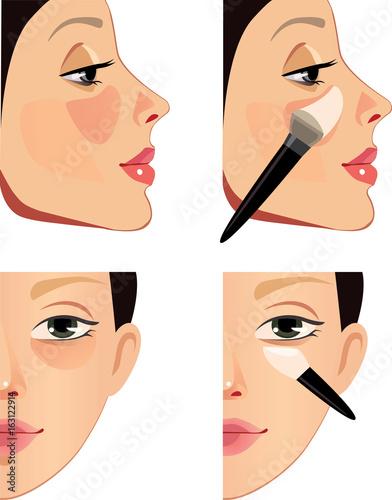 makeup of face, problem zone of skin, sponge, brush, face of