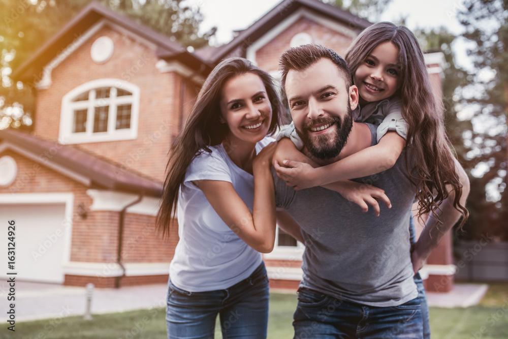 Fototapety, obrazy: Happy family outdoors
