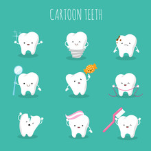 Cute Cartoon Tooth Vector Set....