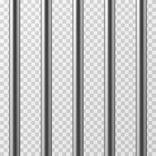 Realistic Metal Prison Bars. J...
