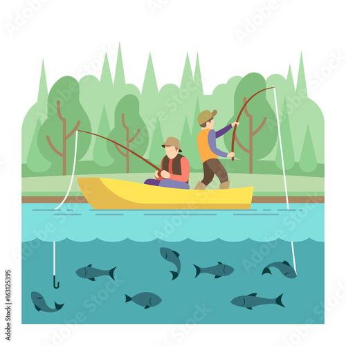 Outdoor summer activities. Fishing sport vector concept Fototapeta