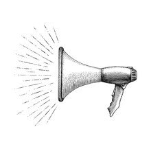 Megaphone With Message Hand Drawing Vintage Style