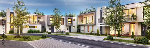 Obraz Street with modern houses - fototapety do salonu