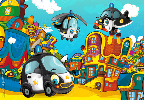 Foto op Canvas Cars Cartoon police car smiling and looking in the parking lot / plane and helicopter flying over - illustration for children