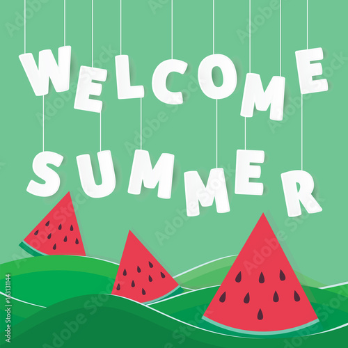 Poster Retro sign welcome summer origami paper art style background design vector illustration