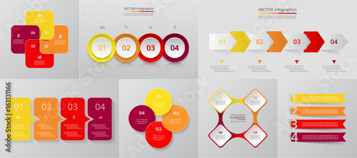 Vector circle infographic set. Canvas Print