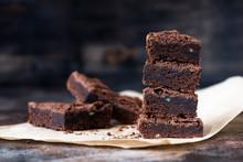 Chocolate Brownie Cake On Brown Baking Paper