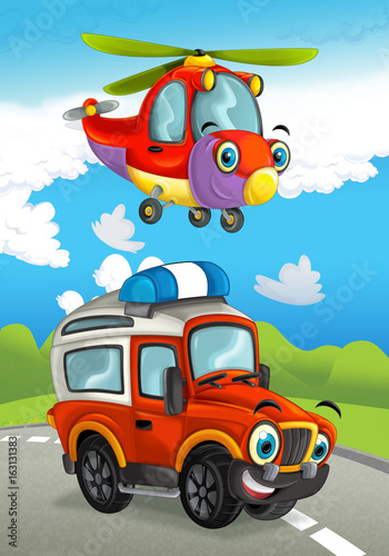 Poster Cars cartoon happy traditional offroad truck and helicopter smiling and flying over