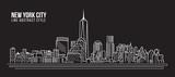 Fototapeta Nowy York - Cityscape Building Line art Vector Illustration design - New York city
