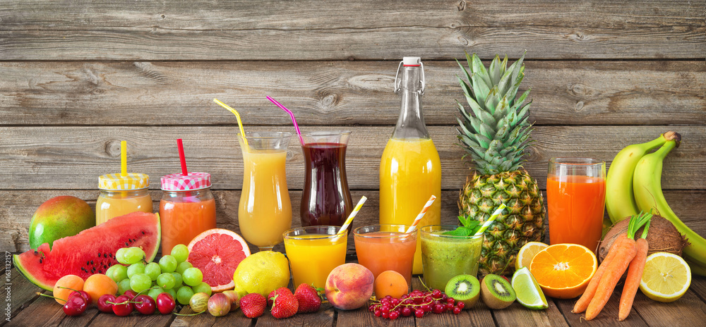 Fototapeta Various fruits and vegetables juices