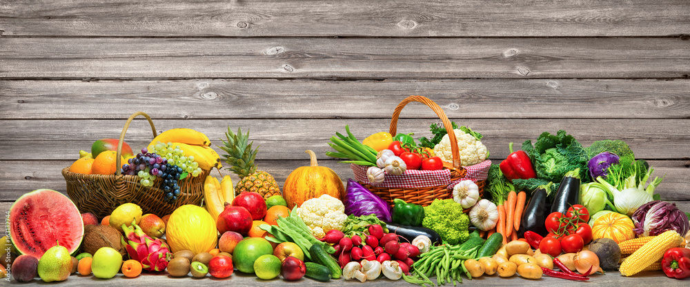 Fototapety, obrazy: Vegetables and fruits background