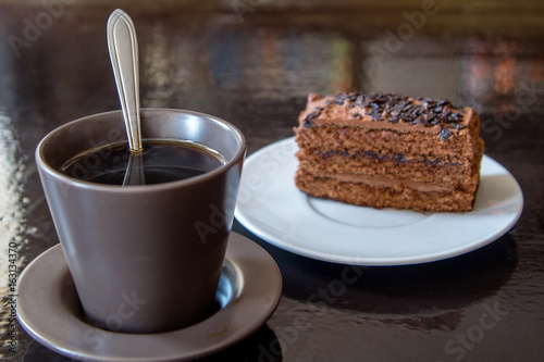 Spoed Foto op Canvas Chocolade Cup cafe and cake on the table